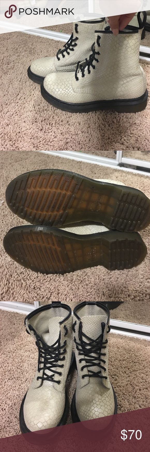 Dr Martens Women's snakeskin Dr. Martens! still really good condition, only worn a few times! Size: 6 these are off-white/cream colored Dr. Martens Shoes