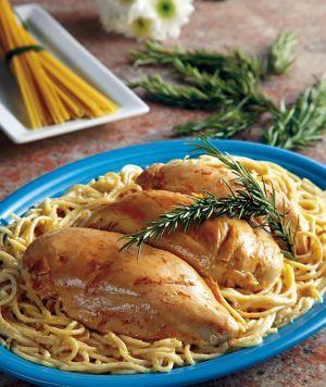 White Chicken Spaghetti - 6 boneless skinless chicken breasts, 1 block cream…