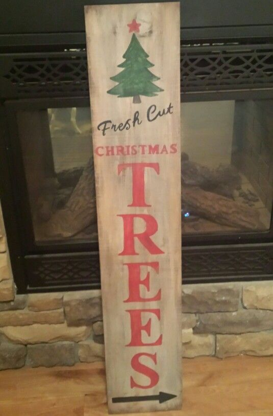 Fresh Cut Christmas Trees porch sign. Hand made by Redeemed Decor.