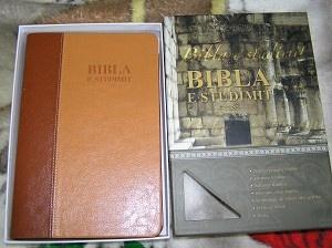 "Bibla E Studimit / Albanian Thompson Chain Study Bible / Leather Bound with thumb Index / ""The New Thompson Study Bible"" / Albania 2009 Print"