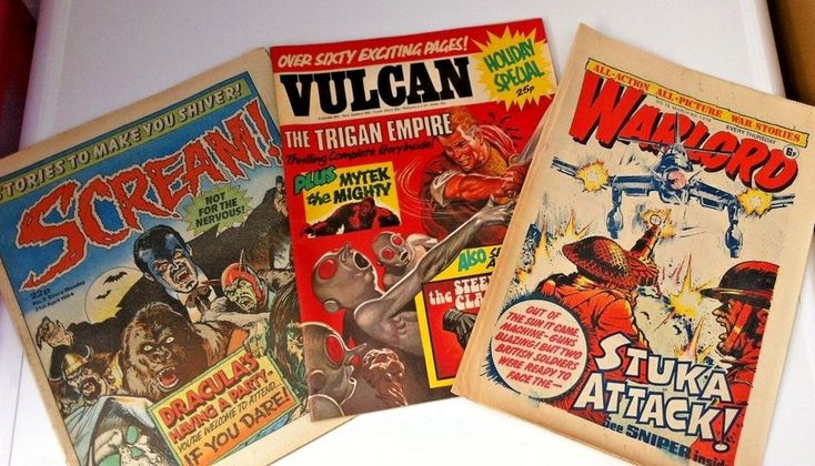 All 3 Comics : VULCAN Holiday Special. SCREAM No5 21.04.84. WARLORD No76 6.03.76