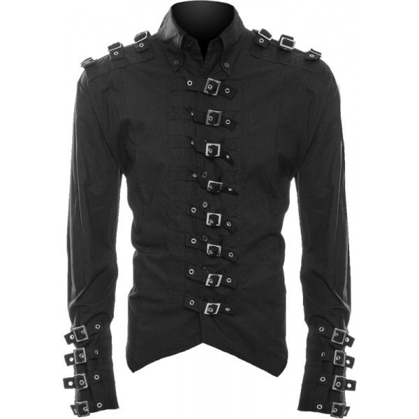 Gothic men's shirt by Raven SDL, button-down style with tail and pointed hem, finished with metal buckles on sleeves, shoulders and front.