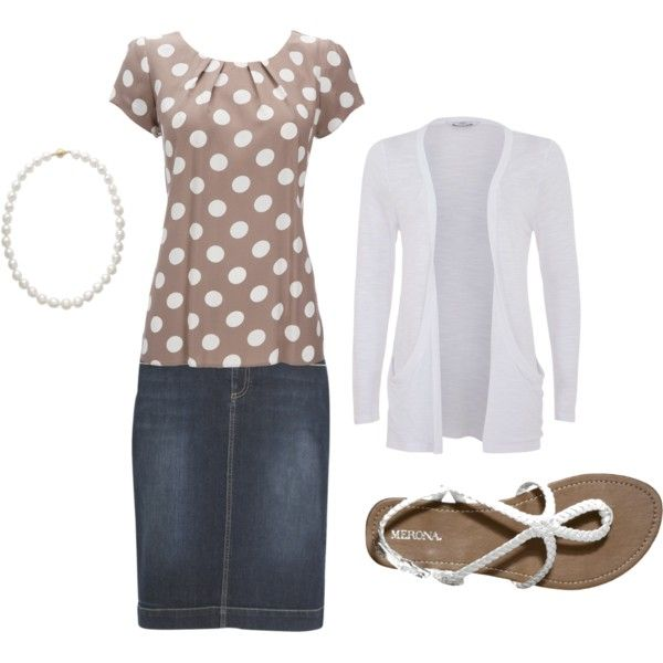 Polka dots and denim skirt
