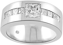 Solitaire Mens Diamond Ring, Princess Cut Diamond Mans Wedding Band