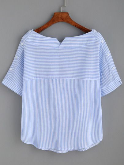 Shop Blue Stripe Boat Neck Blouse With Buttons online. SheIn offers Blue Stripe Boat Neck Blouse With Buttons & more to fit your fashionable needs. Mais