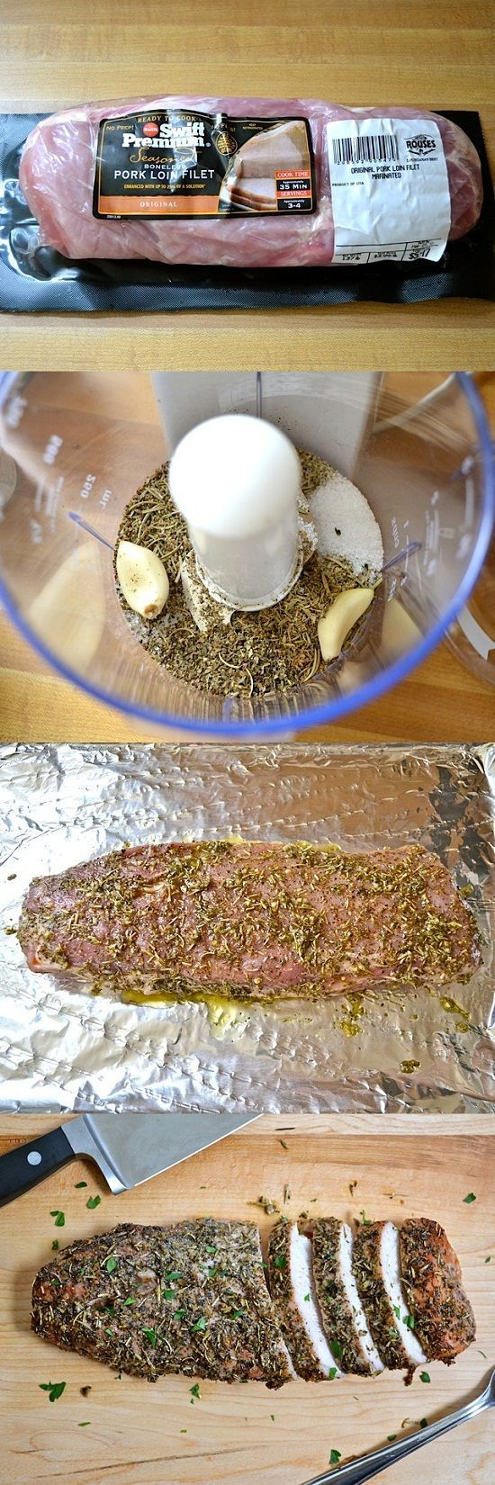 Herb Roasted Pork Loin Recipe - I think I would have to sub thyme for oregano though.