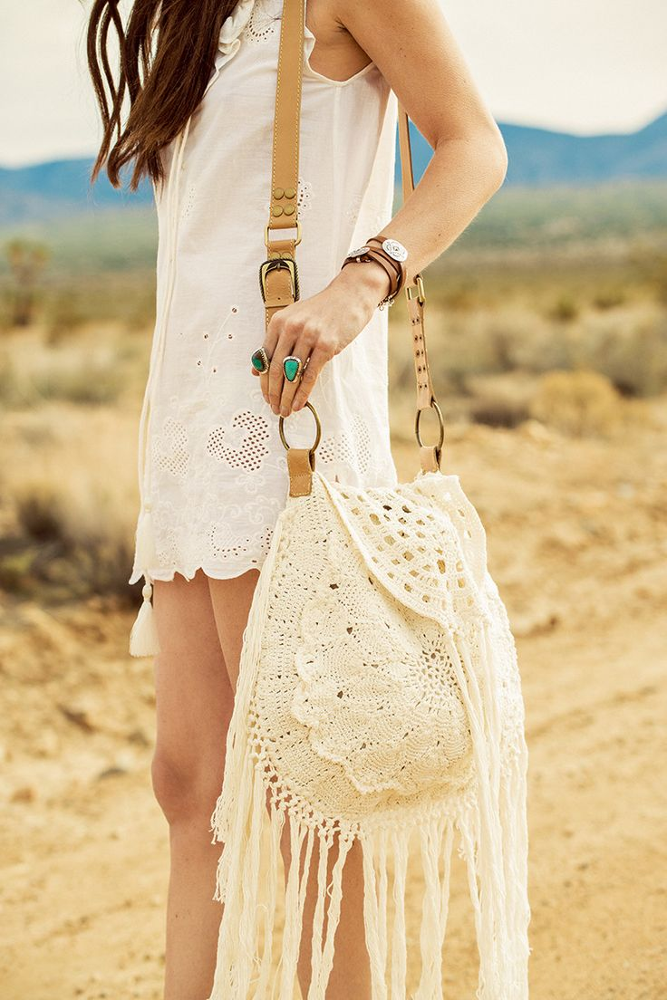 Large crocheted bag with long fringes and straps in leather. The inside is lined with Spell's Aloha python print. The bag that you can fit the most in. Havana Crochet bag by Spell - Shoulder bag - Bags