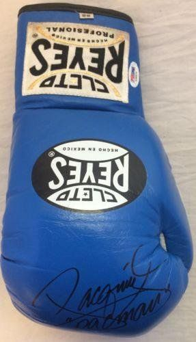 Manny Pacman Pacquiao Signed Cleto Reyes Boxing Glove COA Blue Y39934 - PSA/DNA Certified - Autographed NHL Gloves @ niftywarehouse.com