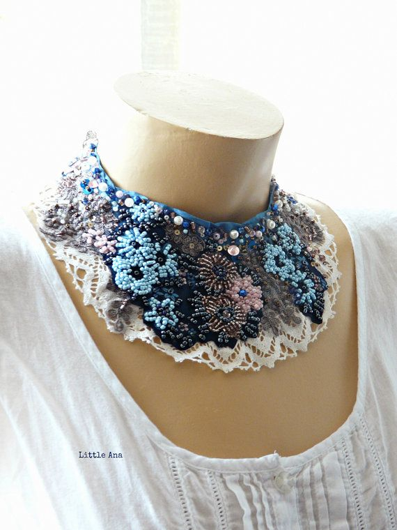 Dusty flowers - statement necklace, art to wear, bohemian necklace, gypsy, boho necklace, beaded necklace