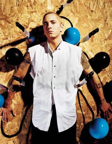 """Eminem alter ego Slim Shady born Marshall Bruce Mathers III. Rapper, record producer, songwriter, actor. Winner of several Grammy Awards and voted by Vibe Magazine subcribers as the """"The Best Rapper Alive"""" More than 10 number one albums on the Billboard 200. Eminem has named Masta Ace, Big Daddy Kane, Newcleus, the Beastie Boys, Dr. Dre, Tupac Shakur, AZ, Nas, and Ice-T amongst others as his influences."""