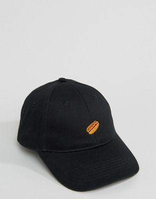 ASOS Baseball Cap With Hotdog Embroidery In Black