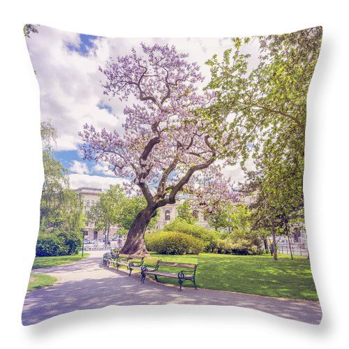 "Spring In Vienna Throw Pillow by Jane Star.  Our throw pillows are made from 100% spun polyester poplin fabric and add a stylish statement to any room.  Pillows are available in sizes from 14"" x 14"" up to 26"" x 26"".  Each pillow is printed on both sides (same image) and includes a concealed zipper and removable insert (if selected) for easy cleaning."