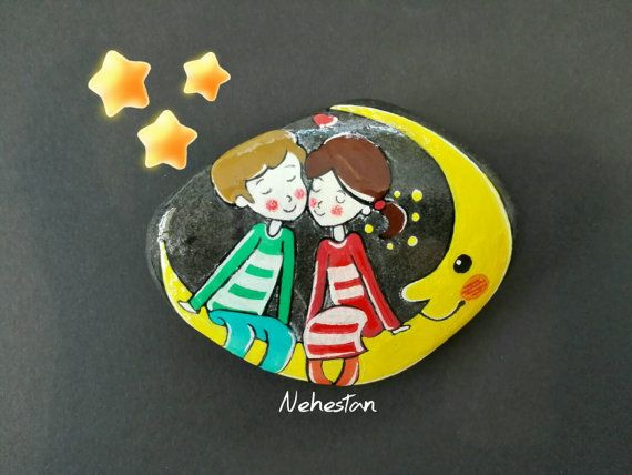 A Love Story, Cute Couple, Painted Pebble Beach Stone, Lovely Night Dream, Lovely Couple, Christmas Gift!