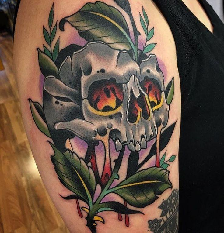 Green Skull by @demonkiller1 at Salvation Tattoo in Richmond Virginia. #skull #green #plant #demonkiller1 #salvationtattoo #richmond #virginia #rva #tattoo #tattoos #tattoosnob