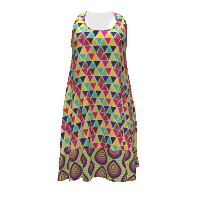 Christine Haynes Rumi Tank Dress made with Spoonflower designs on Sprout Patterns. From the Out of Africa collection, I have mocked up a bright and cheerful version of the Rumi Tank dress.