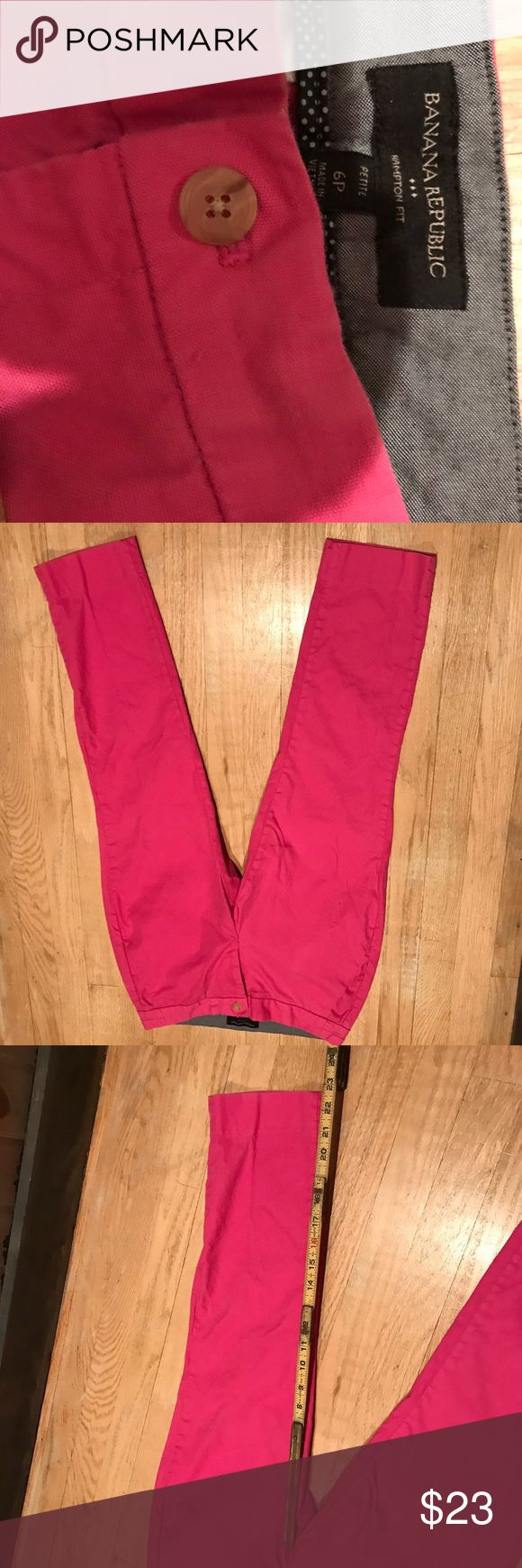 """Banana Republic Hot Pink Capri Pants Size 6P Very gently used Banana Republic Pink Capri pants Size 6P. Only worn a few times. Measurements are approximate  Inseam 23"""" Leg opening 6"""" Waist 14.75""""  Please feel free to ask questions and make an offer! Banana Republic Pants Capris"""