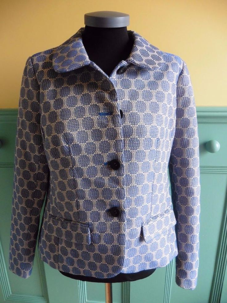 SIZE UK 14 EDINA RONAY CREAM BLUE POLKA DOT LIGHTWEIGHT JACKET SPRING SUMMER | eBay