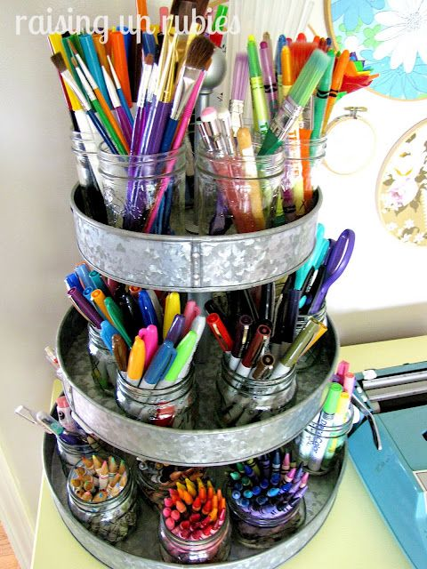Love this idea for the kid's crayons & markers. They seem to have endless supply of writing utencils!