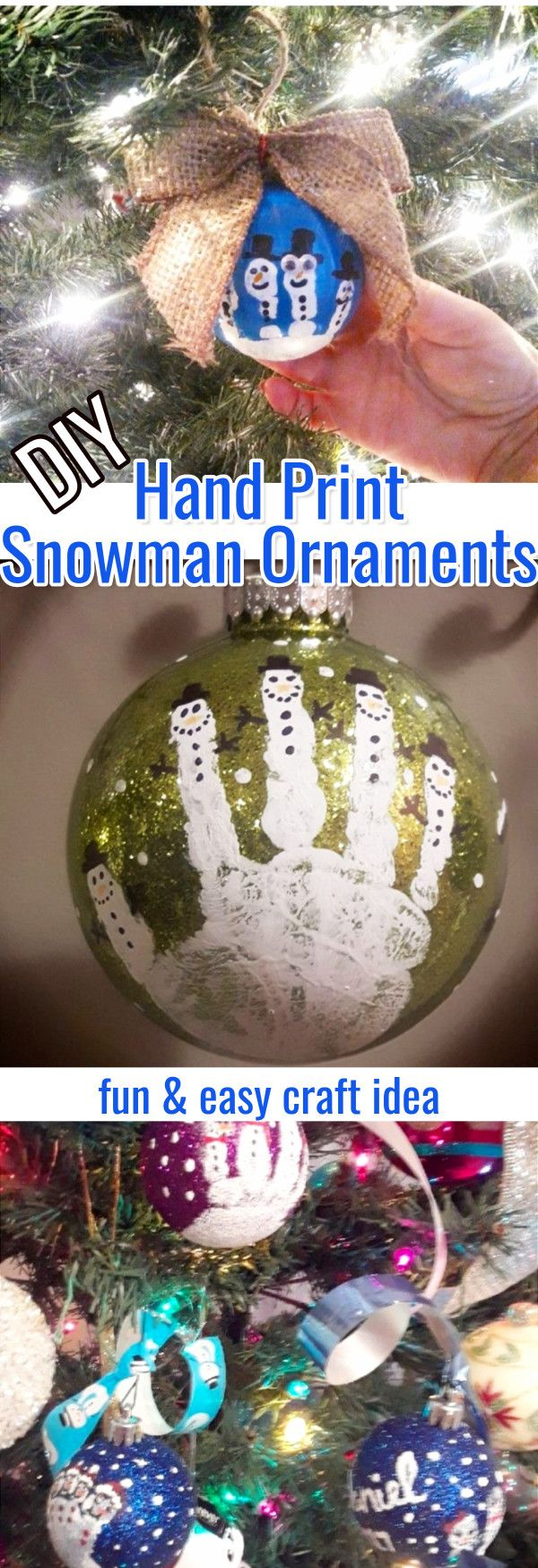 Easy Hand Print Christmas Ornaments To Make - DIY Christmas Ornaments • Family Fingerprint Ornament • Easy Christmas Ornaments to Make • DIY XMas Ornaments • DIY Christmas Crafts • Hand Print Snowman Ornaments • DIY Ornaments for Grandparents • Kids Christmas Crafts
