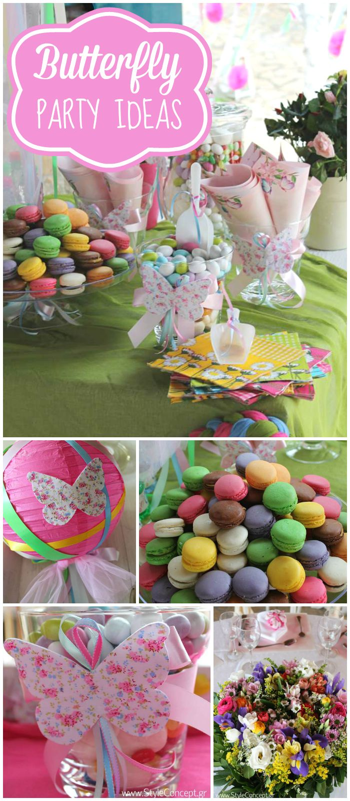 A butterfly birthday party for twin girls with colorful macarons and floral bouquets! See more party planning ideas at CatchMyParty.com!