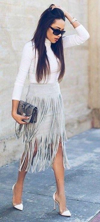 White Jersey, Gray Fringe Midi Skirt, White Heels |A Keene Sense Of Style