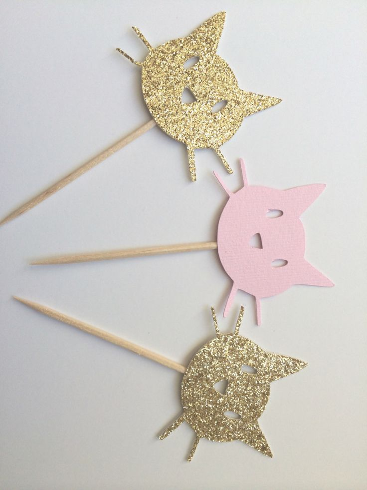 6 Gold & Pink Kitty Cat Cupcake Toppers. Kitty Cat Party. Cupcake Decor. Gold Glitter Cats by PaperTrailbyLauraB on Etsy https://www.etsy.com/listing/223713506/6-gold-pink-kitty-cat-cupcake-toppers
