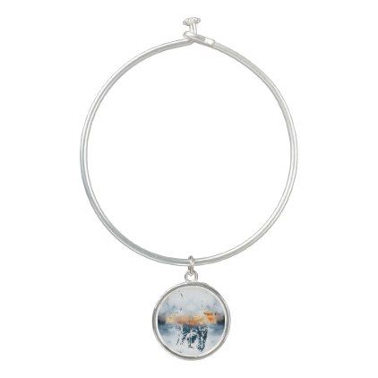 #French bulldog and landscape blend abstract design bangle bracelet - #bulldog #puppy #bulldogs #dog #dogs #pet #pets
