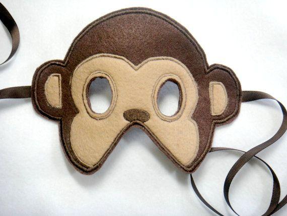 Toddler Monkey Felt Mask by lilliannamarie on Etsy, $10.00