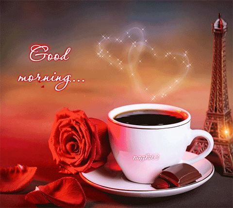 Good Morning with a Cup Of Coffee....Chocolates and a Red Rose GIF