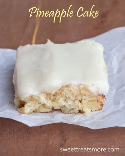 Easy pineapple cake with cream cheese frosting.  Must.make.this.now!