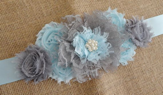 Boy Maternity Sash Grey/Blue Lace Flower Sash by reneesboutique23