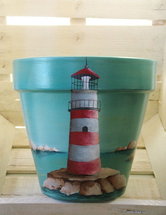 CLAY POT blue  red lighthouse handpainted home by MOIartedesign, €45.00