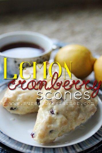 Lemon Cranberry Scones with Lemon Vanilla Glaze - Nurse Loves Farmer