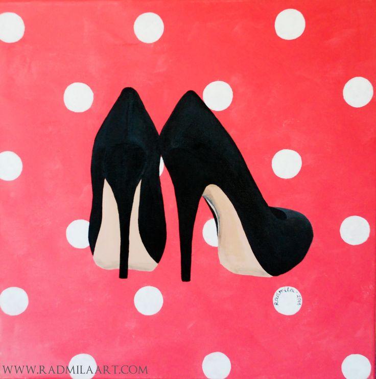 "Acrylic painting ""Shoes"", 40*40 cm. Artist - Radmila Filimonova"