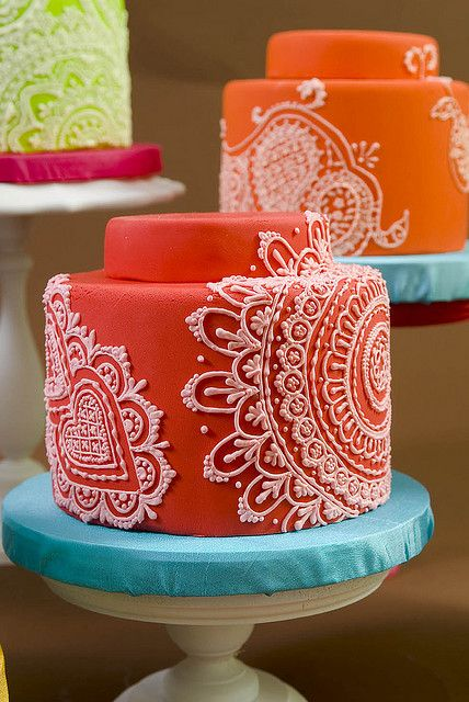 Beautiful Cake Pictures: Orange & White Henna Cake: Colorful Cakes, Orange Cakes,