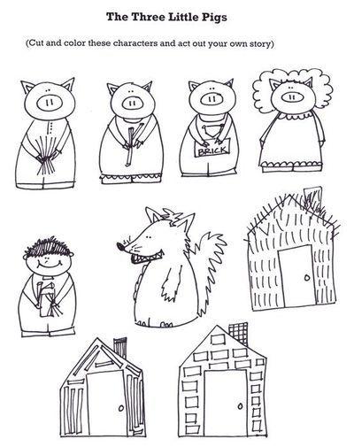 The Three Little Pigs Retelling Stick puppets - a három kismalac pálcika báb