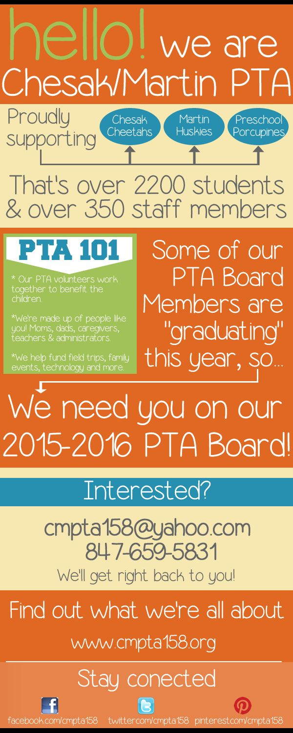 Like to plan ahead? So do we! We're planning ahead for next year's PTA. If you are interested in being an officer (president, vice president, secretary) please let us know! Our organization cannot exist without volunteers like you filling positions on our executive board. (Really! There will be no PTA without our officers) Please don't think someone else will do it. Contact us to find out more about each position. cmpta158@yahoo.com