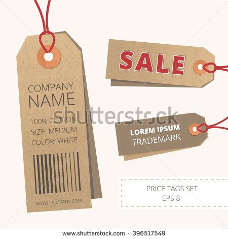 Vector price tag set. Realistic label template.