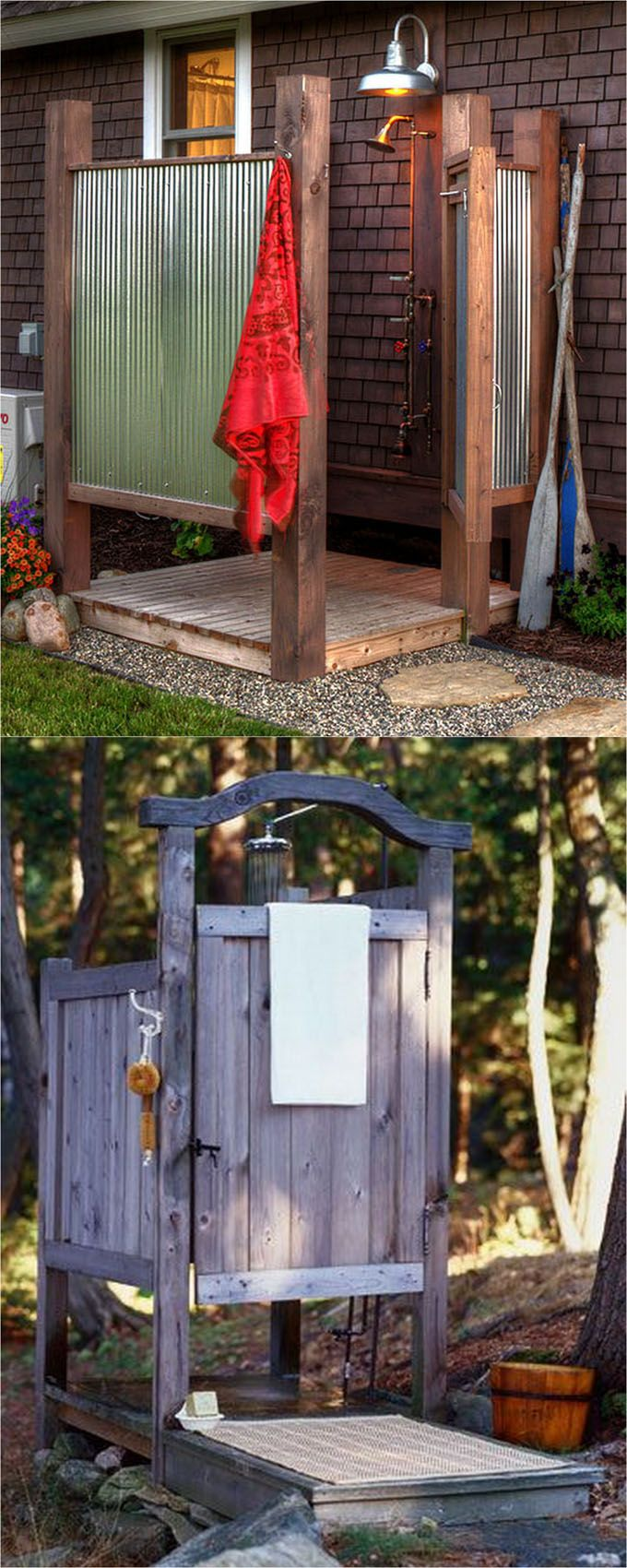 32 beautiful DIY outdoor showers: how to build enclosures with simple materials, best outdoor shower fixtures, creative designs and more! - apieceofrainbow.com