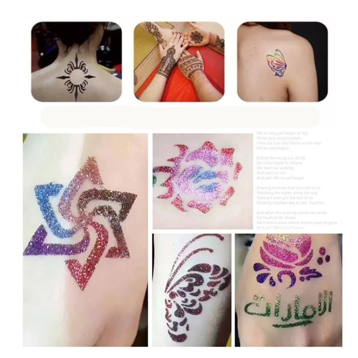 Hot Art Glitter Tattoo Powder Temporary Tattoo body painting Kit Brushes Glue Stencils Ju 30 #Affiliate