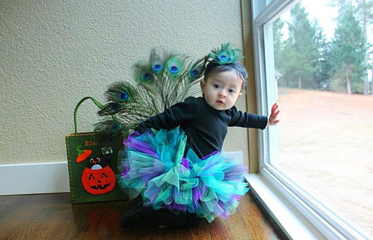 Baby peacock costume. Ellie's first Halloween. #babypeacock #peacockcostume #babypeacockcostume