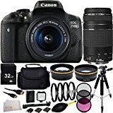 Canon EOS Rebel T6i/750D DSLR Camera with EF-S 18-55mm f/3.5-5.6 IS STM Lens & EF 75-300mm f/4-5.6 III Lens 32GB Bundle 15PC Accessory Kit. Includes 32GB Memory Card + 0.43X Wide Angle Lens + 2.2X Telephoto Lens + 3PC Filter Kit (UV-CPL-FLD) + MORE  by Centre Drone  (23)  Buy new: CDN$ 1,029.95