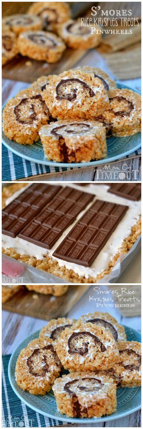 Say goodbye to boring squares and hello to these fun S'mores Rice Krispies Treats Pinwheels!  | MomOnTimeout.com | #recipe #dessert #chocolate