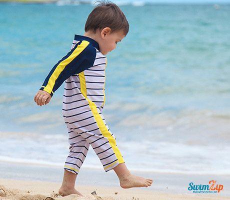 "Sunsuit - ""Hamptons Getaway"" Boy Long Sleeve Romper | SwimZip Rash Guard Swimwear"