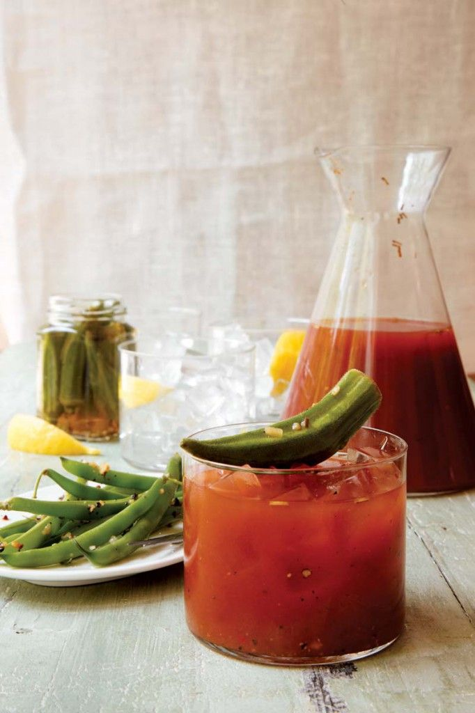 -1quart spicy V-8 vegetable juice  -8 shots (1½ ounces per shot of vodka)  -½ teaspoon of coarse black pepper  -1½ teaspoons of Worcestershire sauce  -juice of 1 lemon  -celery salt    Mix all of the ingredients in a pitcher. Rim the glass with celery salt (optional). Stir and serve over ice. Garnish with okra and green beans.