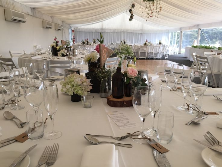 Wedding set-up in the Moonah Marquee