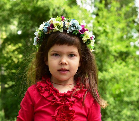 Flower girl crown Pink floral crown Ivory flower girl Baby floral crown Baby shower Baptism christening Wedding girl Purple flower crown