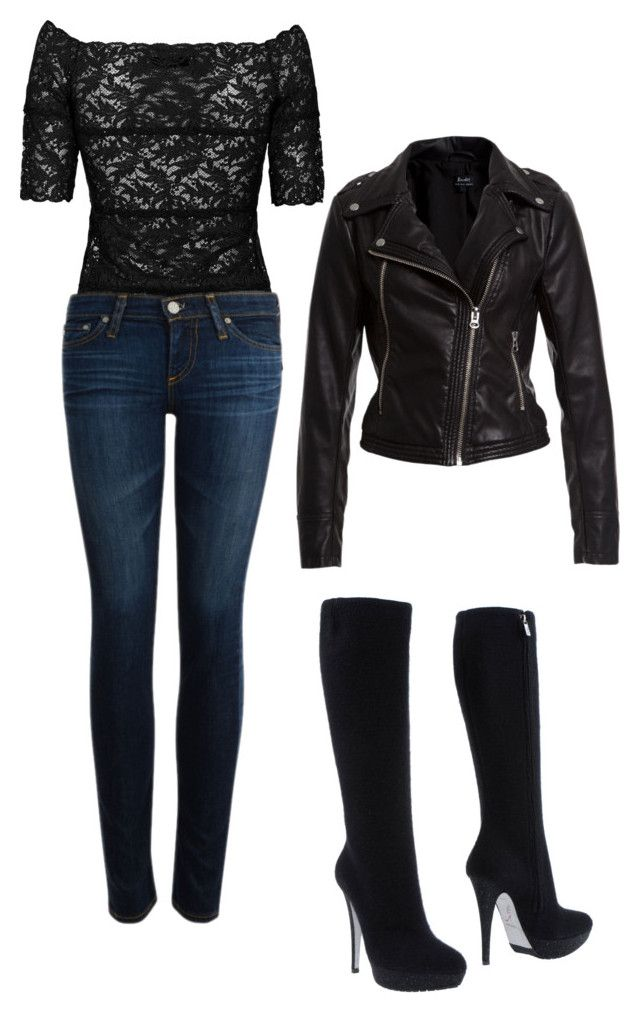 """Gemma Teller-Morrow"" by jess-teller ❤ liked on Polyvore featuring D.Exterior, AG Adriano Goldschmied, René Caovilla, Bardot, biker and sons of anarchy"