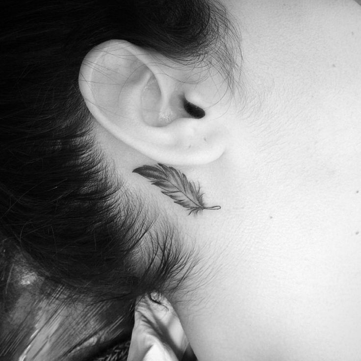 small tattoo motives feather decent woman monochrome