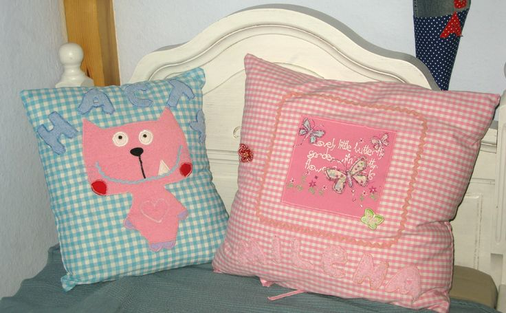 © Anna Galkina. Cushions with application, #fabric crafts #sewing